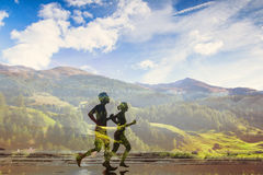 Double exposure of two runners Royalty Free Stock Photography