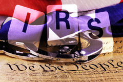 Double exposure US constitution with letters IRS Royalty Free Stock Photo