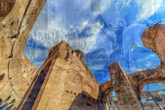 Double exposure view inside the Colosseum, Rome, Italy Royalty Free Stock Photo