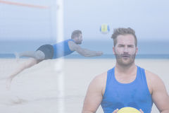 Double exposure volley player on the beach Stock Photos