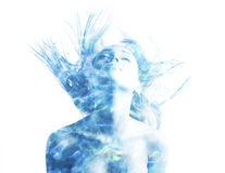 Double exposure with water sparks Royalty Free Stock Photography