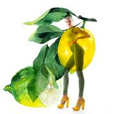 Double exposure of watercolor lemons with full-length portrait of beautiful dancing girl in green pants, lime top and yellow shoes