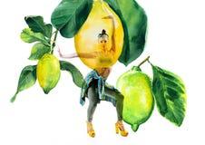Double exposure of watercolor lemons with full-length portrait of beautiful dancing girl in green pants,