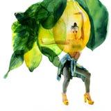 Double exposure of watercolor lemons with full-length portrait of beautiful dancing girl in green pants