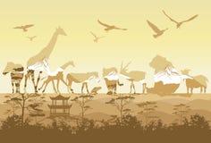 Double exposure, Wild animals vector illustration