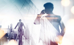 Free Double Exposure With Businessman Silhouette. With Special Lighting Effects Royalty Free Stock Photos - 53375048