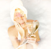 Double Exposure Of Woman In The Bath Stock Image