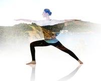 Double exposure of woman doing yoga exercise royalty free stock photo