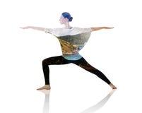 Double exposure of woman doing yoga exercise stock photos