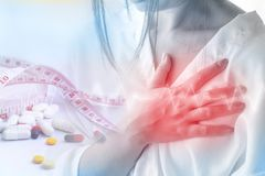 Double exposure of woman having heart attack because of over dose diet pill. With some medicine and measuring tape in background royalty free stock images