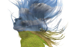 Double exposure of a woman and nature Royalty Free Stock Photography