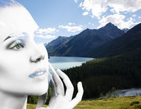Double exposure of woman and nature landscape Stock Photos