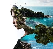 Double exposure. Woman and nature. Double exposure. Portrait of a woman combined with a rocky coast and sea Stock Photography