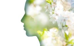 Free Double Exposure Woman Profile With Tree Foliage Stock Photos - 117234323