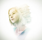Double exposure of woman with skyscrapers and swan Royalty Free Stock Images