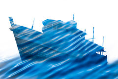 Double exposure of wooden ship and wave blue sea. Double exposure of old wooden ship and wave blue sea Royalty Free Stock Photo