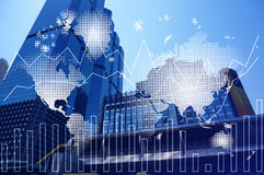 Double exposure of world map and financial graph chart on cityscape background. Double exposure of cityscape and financial graph chart, network and world map on stock photo