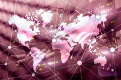 Double exposure world map. Global business and financial market concept.  stock photos