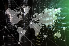 Double exposure world map. Global business and financial market concept.  royalty free stock images
