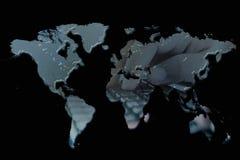 Double exposure world map stock photo