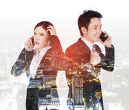 Double exposure of worried businesswoman and happy businessman t Stock Images