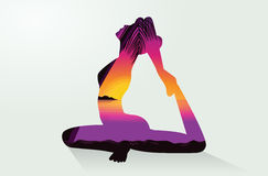 Double exposure of Yoga postures and sea Royalty Free Stock Photos