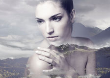 Double exposure of young adult woman with clean fresh skin stock images