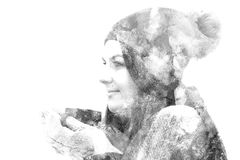 Double exposure of a young beautiful girl. royalty free stock photo