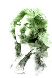 Double exposure of a young beautiful girl. Painted portrait of a female face. Multicolored picture isolated on white background. F Stock Photo
