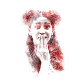 Double exposure of a young beautiful girl. Painted portrait of a female face. Multicolored picture isolated on white background. F Stock Photography