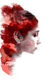 Double exposure of a young beautiful girl. Painted portrait of a female face. Multicolored picture isolated on white background. F. Emale look. Abstract woman Stock Photo