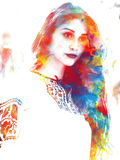 Double exposure of a young beautiful girl. Painted portrait of a female face. Picture in the coloring of pop art isolated on white. Background. Female look stock illustration