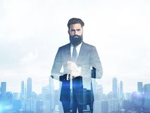 Double exposure of young business man and city on Stock Photography