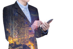 Double exposure Young business woman is using smart technology Royalty Free Stock Photography