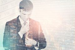 Double exposure of a young businessman before his meeting, setting royalty free stock images