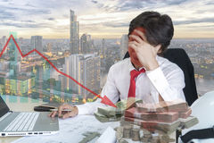 Double exposure of young businessman stressed Stock Image