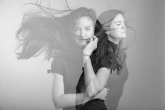 Double exposure of young female Stock Image