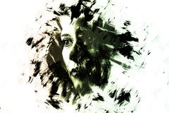 Double exposure of a young girl creative portrait. Art Dramatic. Portrait of a woman. Unique artistic effect. Abstract watercolor illustration. Picture isolated Stock Images