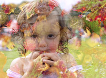 Double exposure of a young girl holding an apple Stock Photography