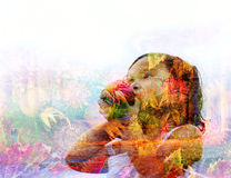 Double exposure of a young girl holding an apple Royalty Free Stock Image