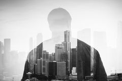 Double exposure of young man and panoramic view on royalty free stock photo