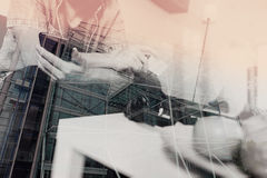 double exposure of young man sitting on a sofa shopping on line Stock Photo