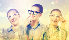 Double exposure of young professional women Stock Photography