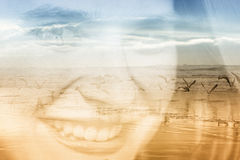 Double exposure of young woman and beach Stock Photo