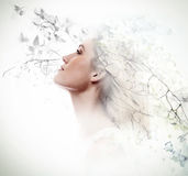 Double exposure of young woman and dogwood flowers Stock Images
