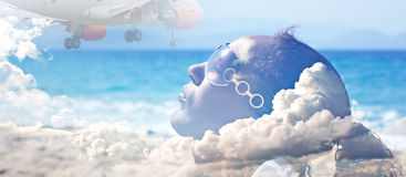 Double exposure  of young woman sunbathing and passenger jet Stock Images