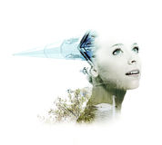Double exposure of young woman with swan and church Stock Images