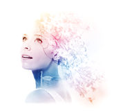 Double exposure of young woman with swan and dogwood Royalty Free Stock Photography