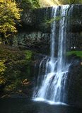 DOUBLE FALLS. At Silver Falls State Park, Oregon, in autumn royalty free stock image