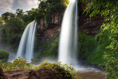 Double Falls at Iguazu Falls bordering Brazil and Argentina Stock Photo